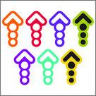 "Sticker-""Pijlen-kleur-10cm-set-21-st.-nr-03"